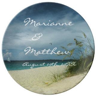 Porcelana del recuerdo del boda de playa platos de cerámica