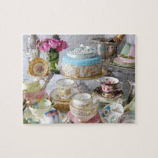 Porcelana del té del vintage y trigésimo puzzle