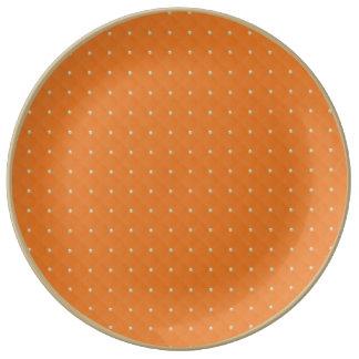 Porcelana moldeada y acolchada hinchada anaranjada plato de cerámica