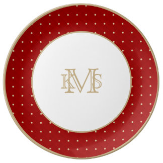 Porcelana moldeada y acolchada hinchada roja de plato de cerámica
