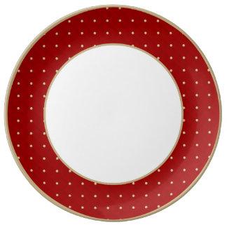 Porcelana moldeada y acolchada hinchada roja de platos de cerámica