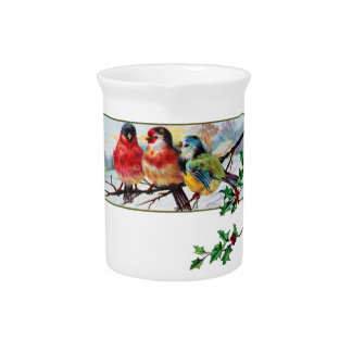 Porcelin Pitcher Three Holiday Birds on a Branch