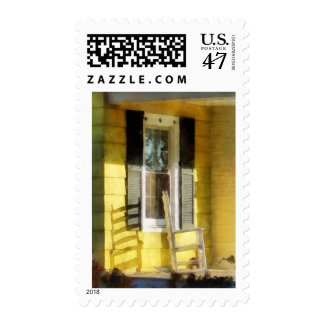 Porch - Long Afternoon Shadow of Rocking Chair Postage Stamp