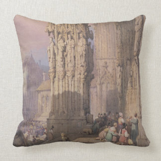 Porch of Regensburg Cathedral Throw Pillow