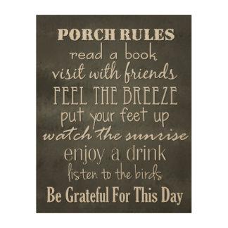 Porch Rules - Black & White Home Decor Wood Print