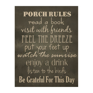 Porch Rules - Black & White Home Decor Wood Canvases