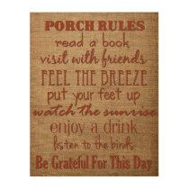 Porch Rules - Home Decor Sign