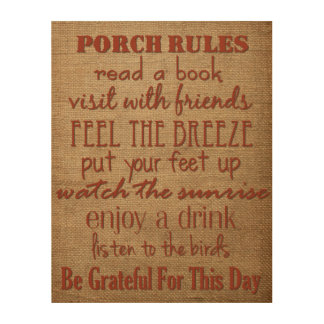 Porch Rules - Home Decor Sign Wood Wall Art