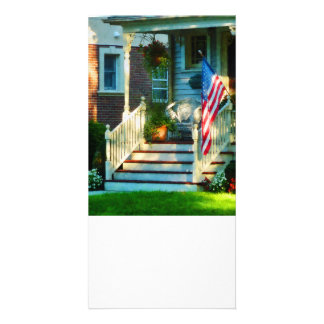 Porch With American Flag Photo Card Template