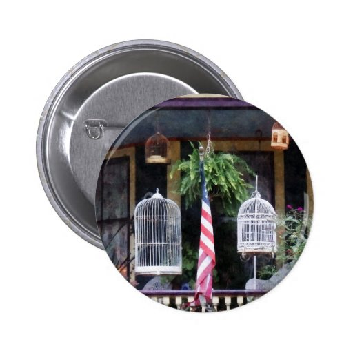 Porch With Bird Cages 2 Inch Round Button