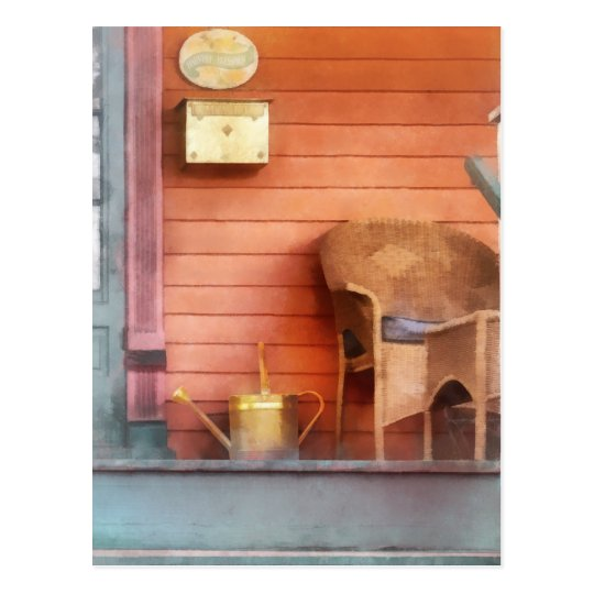 Porch With Brass Watering Can Postcard