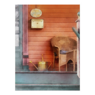 Porch With Brass Watering Can Poster