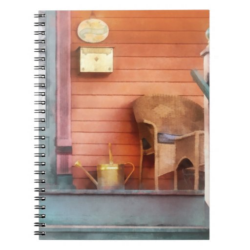 Porch With Brass Watering Can Spiral Notebook
