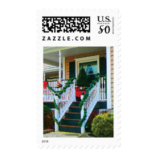 Porch with Christmas Tree Postage