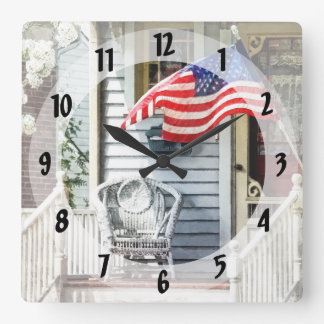Porch With Flag And Wicker Chair Square Wall Clock
