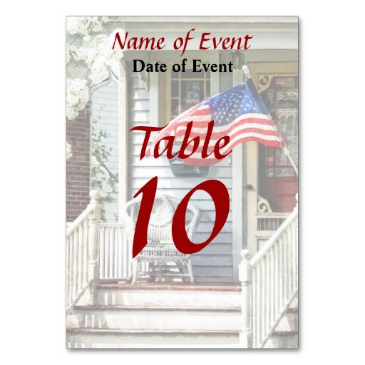 Porch With Flag And Wicker Chair Table Card