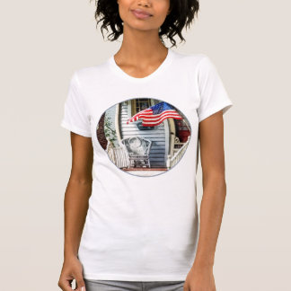 Porch With Flag And Wicker Chair T Shirts