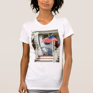 Porch With Flag And Wicker Chair Shirts