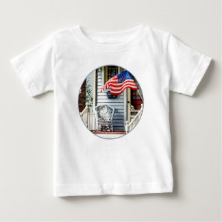 Porch With Flag And Wicker Chair T-shirt