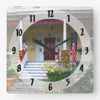 Porch With Front Yard Garden Square Wall Clock