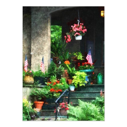 Porch With Geraniums and American Flags Card