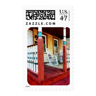 Porch With Red, White and Blue Railing Postage Stamp