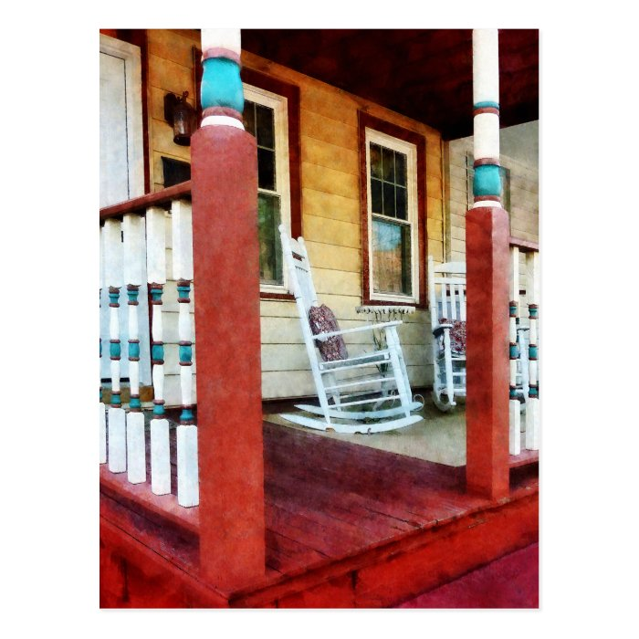 Porch With Red, White and Blue Railing Postcard
