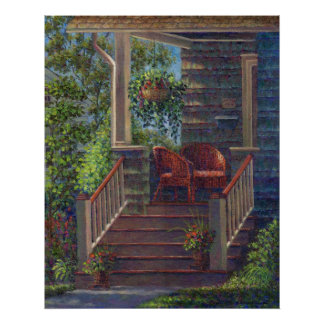Porch with Red Wicker Chairs Print