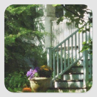 Porch with Urn and Pumpkin Square Sticker
