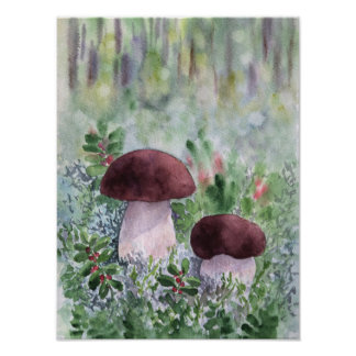 Porcini mushroom in a forest poster