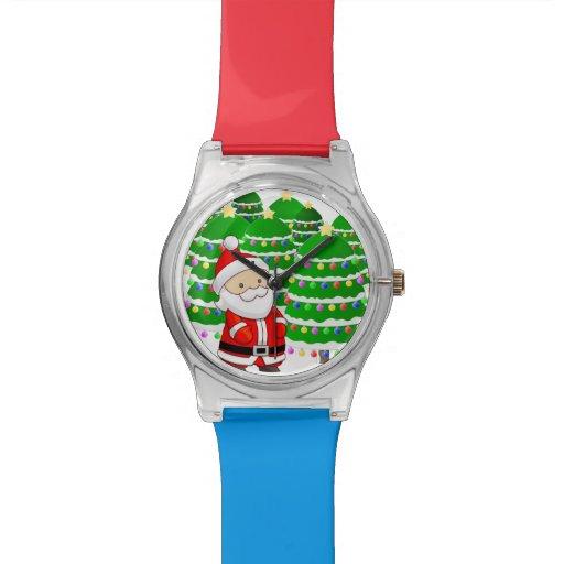 Porción de Papá Noel y del árbol de navidad Reloj De Mano