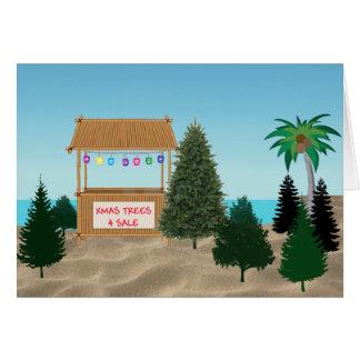 Porción del árbol de Navidad en la playa Tarjeta De Felicitación