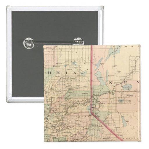 Porción del norte de California y de Nevada Pin Cuadrada 5 Cm