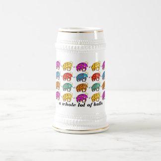 Porción entera de toros que beben a Stein Jarra De Cerveza