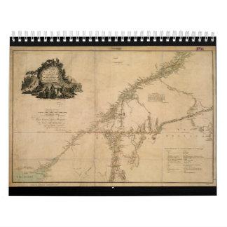 Porción habitada de mapa de Canadá en 1777 Calendarios De Pared