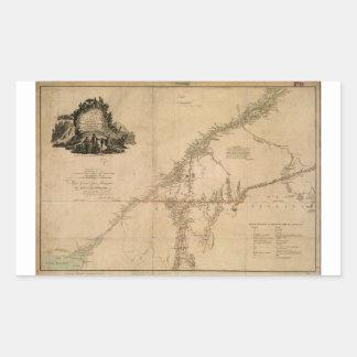 Porción habitada de mapa de Canadá en 1777 Pegatina Rectangular
