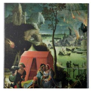 Porción y sus hijas (aceite en el panel) azulejo cuadrado grande