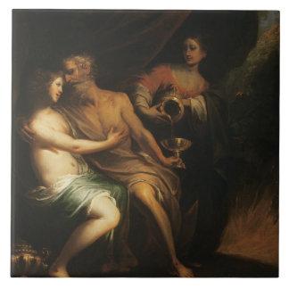 Porción y sus hijas (aceite en lona) 3 azulejo ceramica
