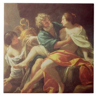 Porción y sus hijas, c.1630 (aceite en lona) azulejo cuadrado grande