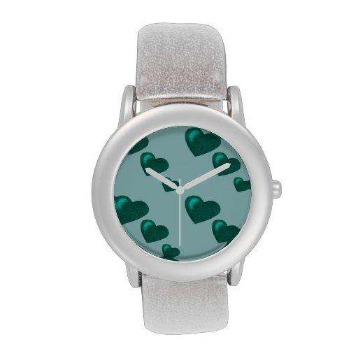 Porciones de amor (modelo) del corazón (verde del  reloj de mano