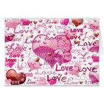Porciones de amor y de corazones felicitacion