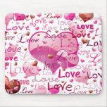 Porciones de amor y de corazones alfombrilla de ratones