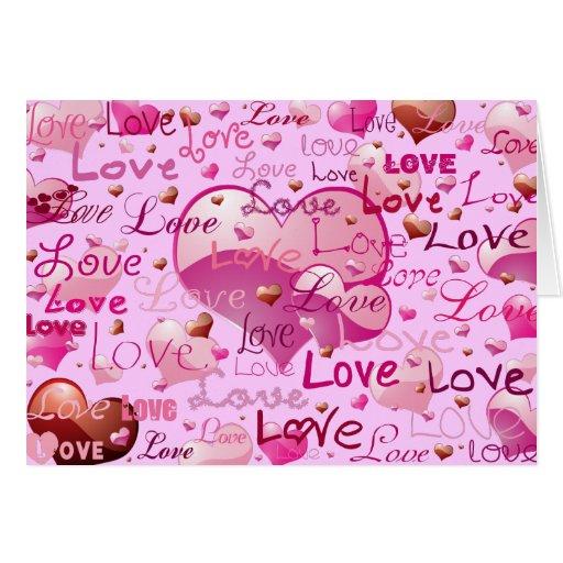 Porciones de amor y de corazones tarjetas