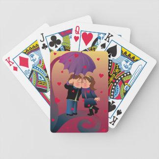 Porciones de besos barajas de cartas