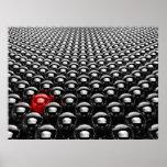 Porciones de bolas del negro del cromo con un rojo posters