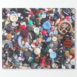 Porciones de botones coloridos papel de regalo