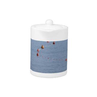 Porciones de boyas de amarre que flotan en el agua