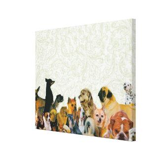Porciones de collage de los perros impresion en lona