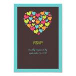 Porciones de corazones que casan la tarjeta de invitación 8,9 x 12,7 cm