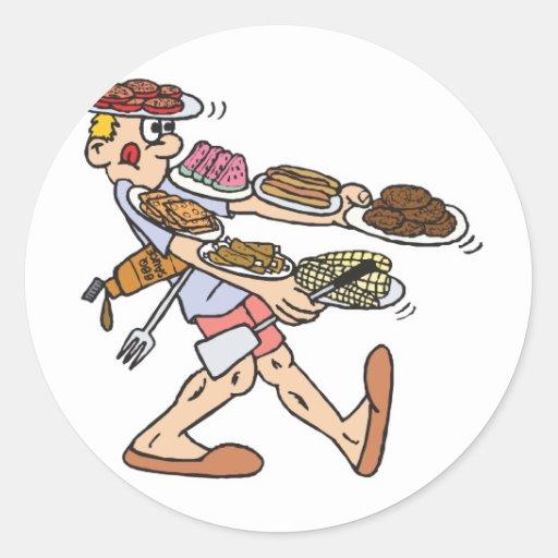 porciones de equilibrio de comida pegatina redonda